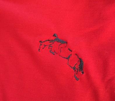 7d861ab7f7 ... Camisa polo vermelha a com detalhes em azul com bordado cavalo saltando  - Mania de viver ...