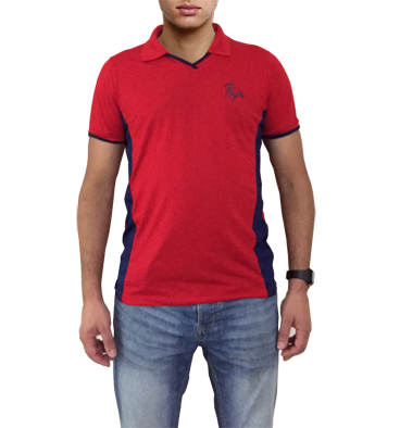 f045f12c1efc4 Camisa polo vermelha com detalhes azul marinho com bordado cavalo galopando