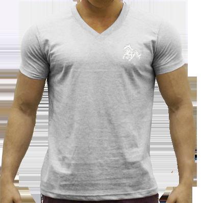 ccc6acba8 Camiseta masculina ou unissex gola V cinza mescla com bordado cavalo ...