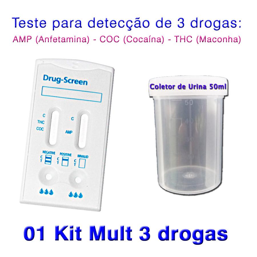 01 Kit para teste de AMP+COC+THC  - Loja Saúde - Diagnósticos e Produtos Naturais