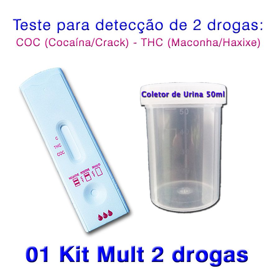 01 Kit para teste de duas substâncias - COC+THC com coletor de urina  - Loja Saúde -Diagnósticos