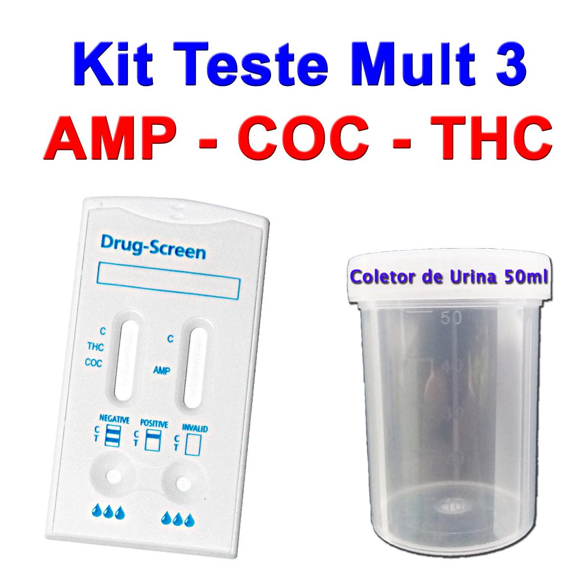10 Kits para teste de AMP+COC+THC  - Loja Saúde - Diagnósticos e Produtos Naturais