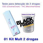 01 Kit para teste de duas substâncias - COC+THC com coletor de urina