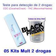 05 Kits para teste de duas substâncias - COC+THC com coletor de urina