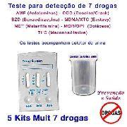 05 Kits Para Testes De Sete Substâncias Com Coletor De Urina