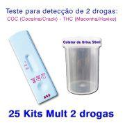 25 Kits para teste de duas substâncias - COC+THC com coletor de urina