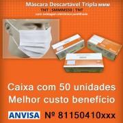 Máscara Cirúrgica Descartável Cinco Camadas SMMMS-50 TNT - Caixa com 50 Unidades