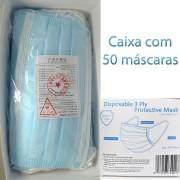 Máscara Facial Importada Com Tripla Camada De Proteção (S. M. S.) Cx 50 Unid