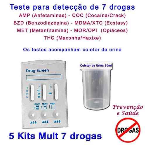 05 Kits Para Testes De Sete Substâncias Com Coletor De Urina  - Loja Saúde - Produtos Naturais