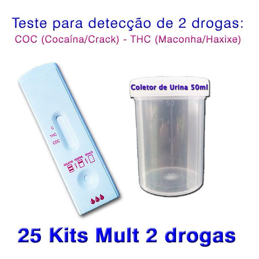 25 Kits para teste de duas substâncias - COC+THC com coletor de urina  - Loja Saúde -Diagnósticos