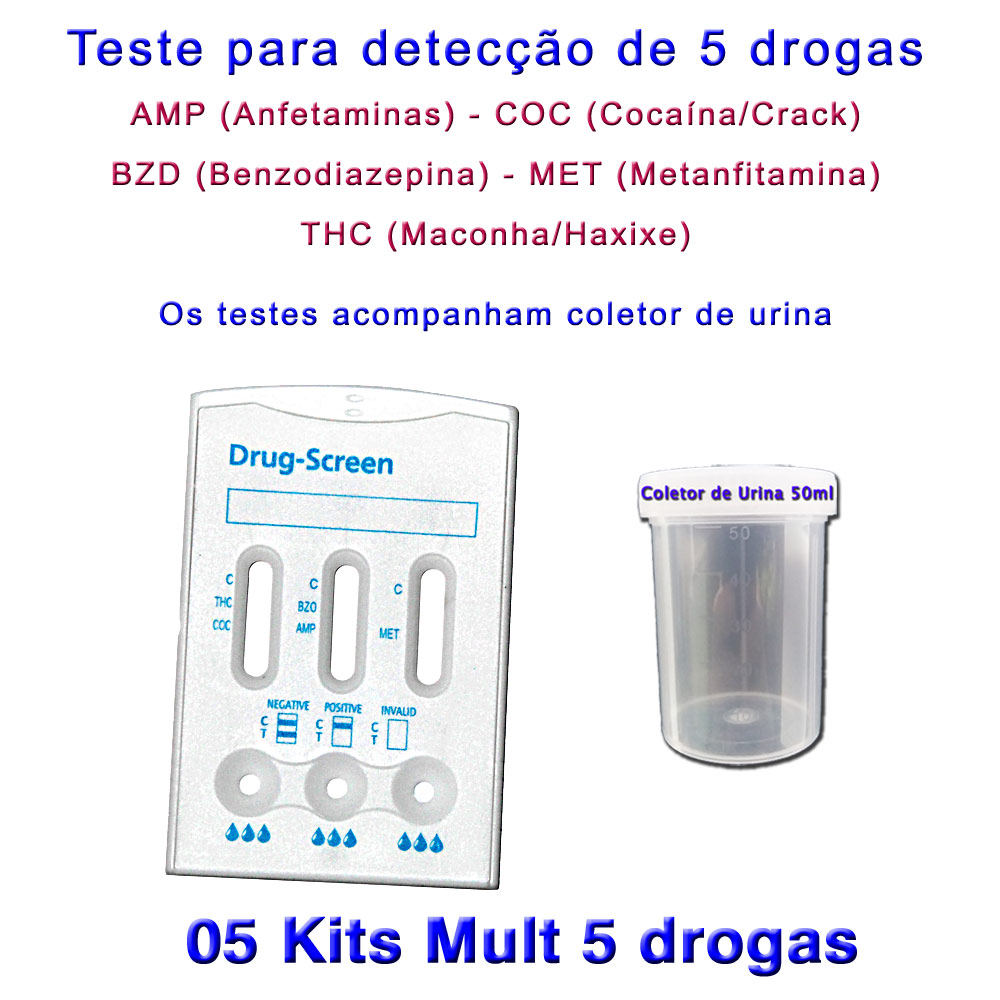 5 kits Para Teste Mult 5  - Loja Saúde - Diagnósticos e Produtos Naturais