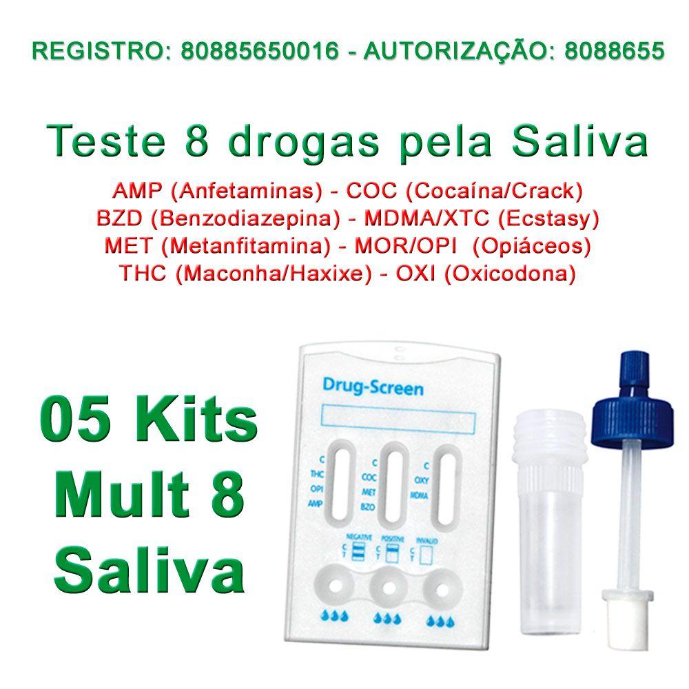 5 TESTES DE SALIVA DE FÁCIL APLICAÇÃO PARA 8 SUBSTÂNCIAS  - Loja Saúde -Diagnósticos