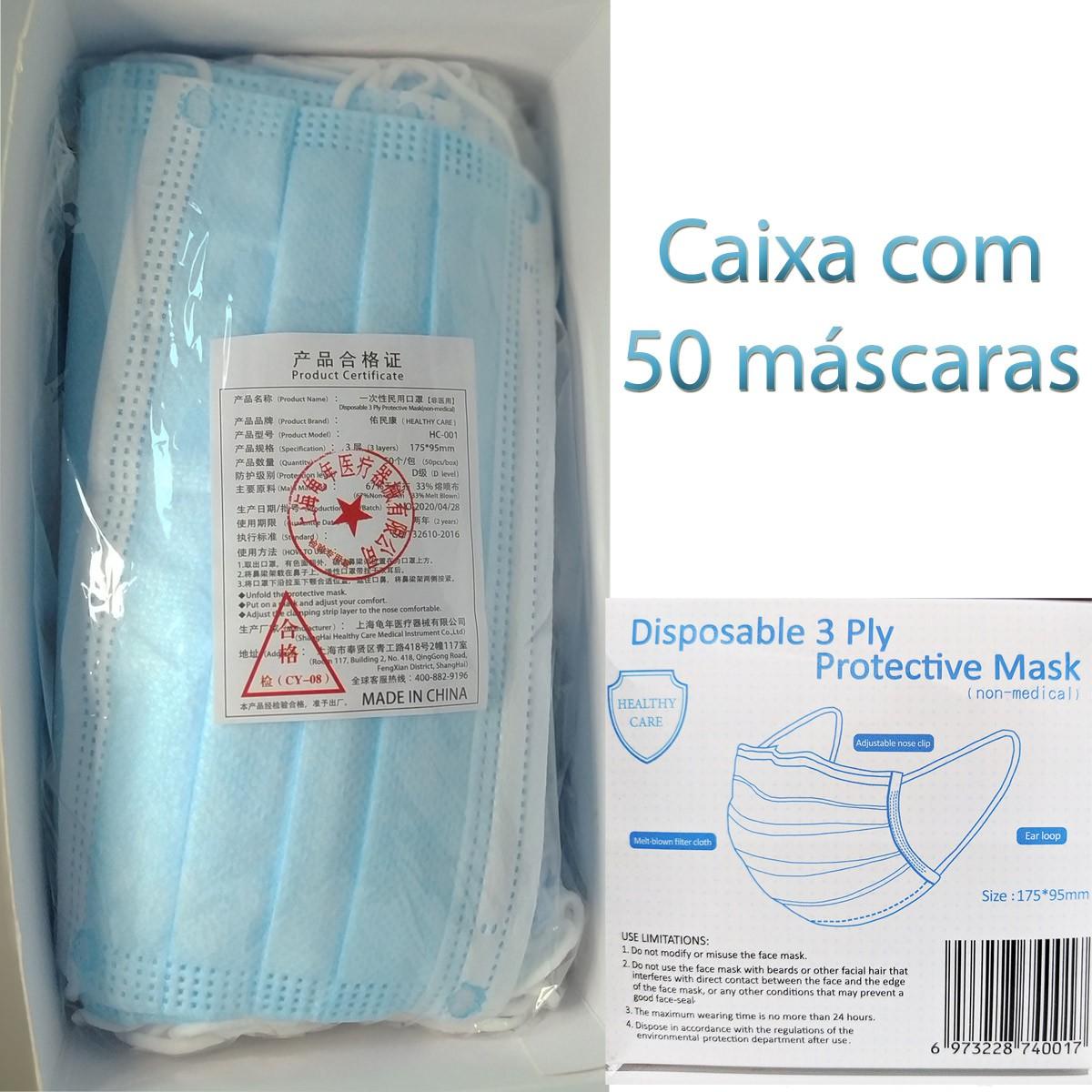 Máscara Facial Importada Com Tripla Camada De Proteção (S. M. S.) Cx 50 Unid  - Loja Saúde -Diagnósticos