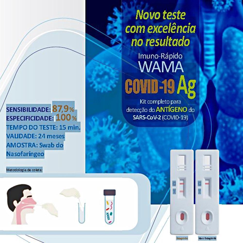 Teste Rápido COVID-19 Antígeno Ag - Wama - Caixa com 25 testes  - Loja Saúde - Diagnósticos e Produtos Naturais