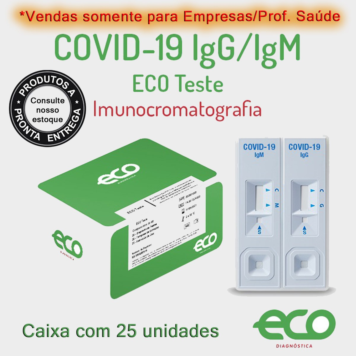 Teste Rápido COVID-19 IgM/IgG - Caixa com 25 testes  - Loja Saúde - Diagnósticos e Produtos Naturais