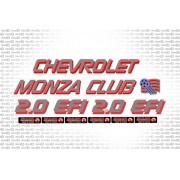 Kit Adesivos Chevrolet Monza Club 2.0 Efi Grafite E Vermelho