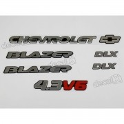 Kit Emblema Adesivo Blazer Dlx 4.3v6 Resinado Bar34