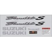 Kit Jogo Faixa Emblema Adesivo Suzuki Bandit 600s 2003 Prata
