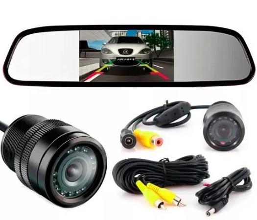 Retrovisor Lcd 4.3 + Camera De Ré Visão Noturna Com Infra