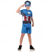 Fantasia Capitão América Infantil Curto - Avengers - Abrakadabra
