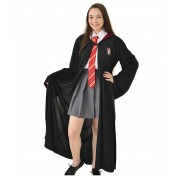 Fantasia Hermione Adulto - Harry Potter - Capa Grifinória + Gravata + Saia