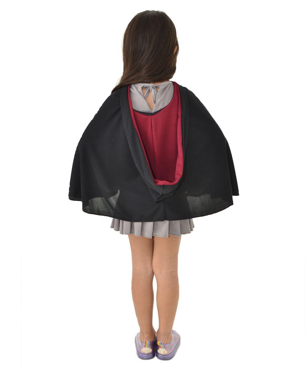 Fantasia Hermione Infantil - Capa Grifinória + Vestido + Gravata