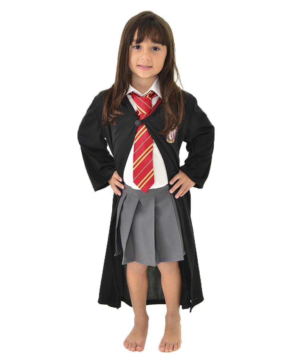 Fantasia Hermione Infantil - Harry Potter - Capa Grifinória + Gravata + Saia