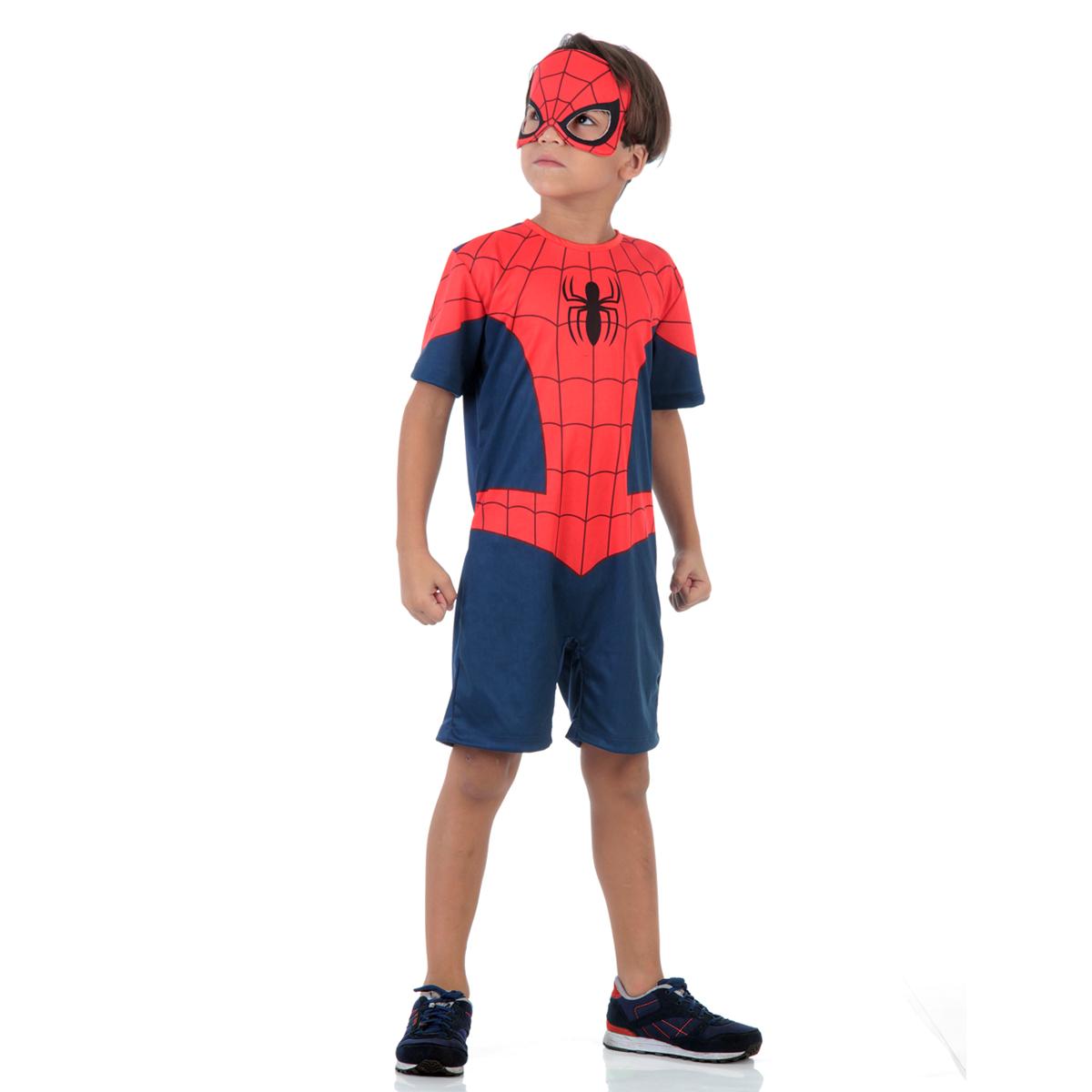 Fantasia Homem Aranha Curto Infantil - Marvel - Spider Man - Abrakadabra