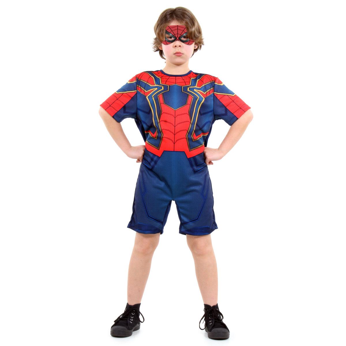 Fantasia Homem Aranha De Ferro Curto - Avengers - Marvel - Abrakadabra