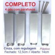 Pés Para Cozinha Móveis, Regulável, 12cm, Cinza Plástico
