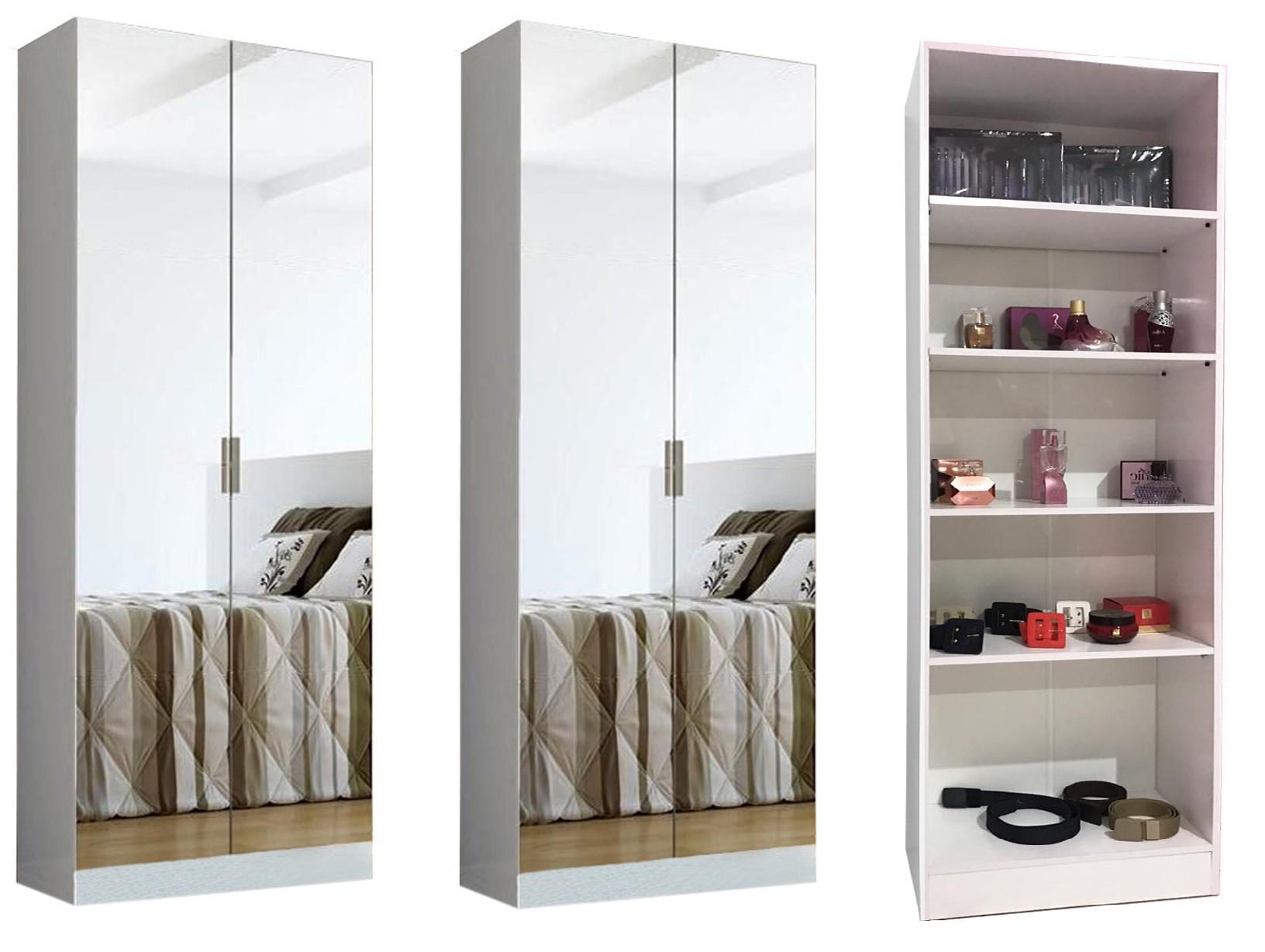 2 Sapateira Com Espelho + 1 Livreiro Branco Magia Móveis