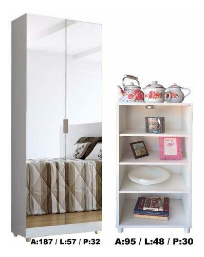 Paneleiro Armário Cozinha Adega + Armário com espelhos = Só Branco Magia Móveis