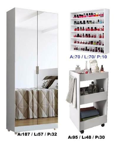 Organizador Toalheiro + Porta Esmaltes + Armário Com Espelho
