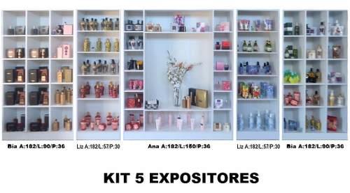 Kit 5 Expositores Para Loja: 1 Colméia Ana + 2 Bia + 2 Liz Magia Móveis