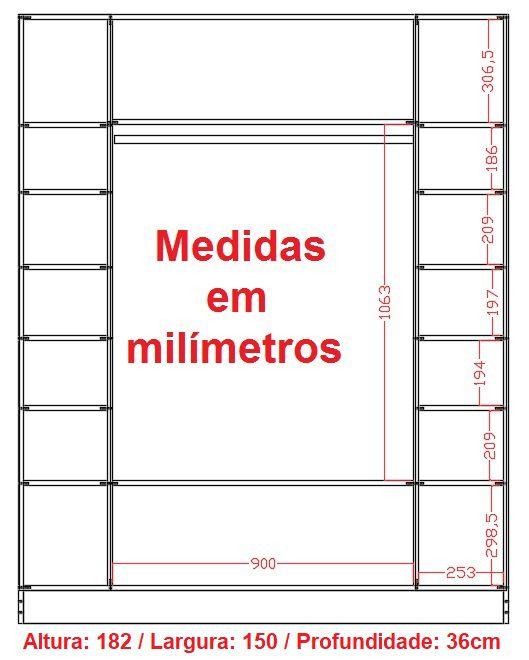 Armário Colméias + Cabideiro + Provador + Estante Prateleira