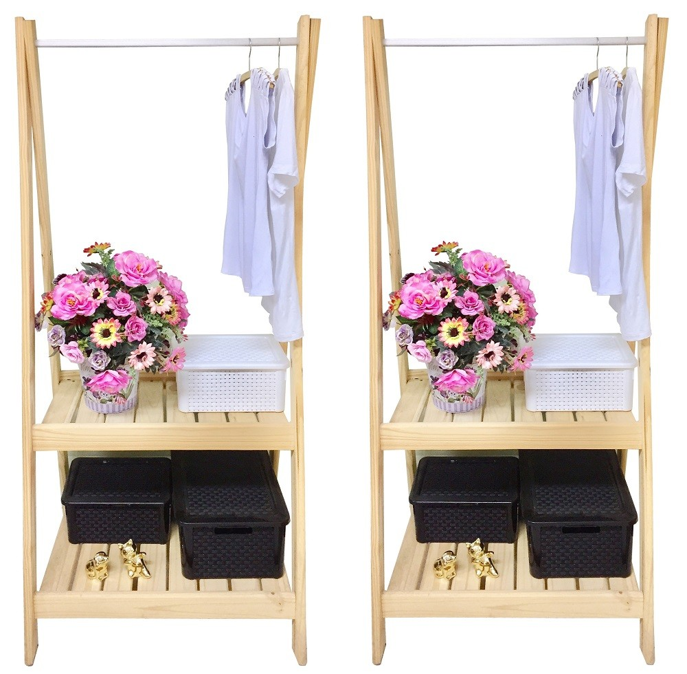 Cabideiro para roupas Loja Closet 70cm Madeira Natural Z = Kit 2 pçs