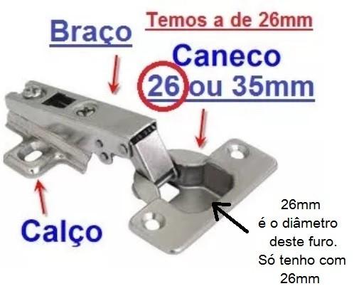 Dobradiça Para Armários Com Parafusos De Brinde - 26mm Curva