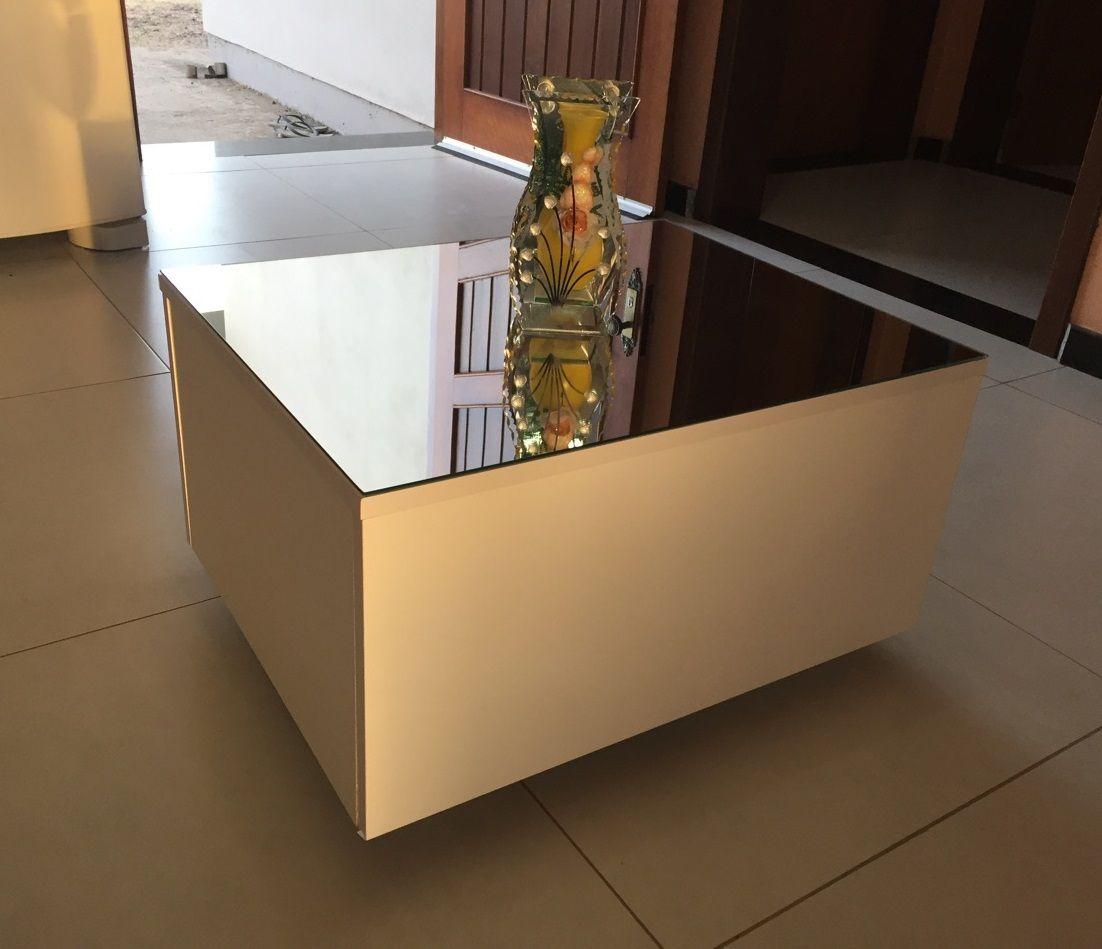 Mesa De Centro Com Espelho Espelhada Linda! Com Rodinhas!