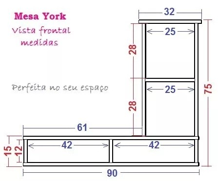 Mesa Para Notebook Computador para Estudo Suspensa York