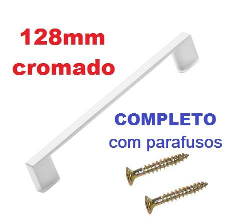Puxador Gaveta Porta Móveis Cromado 128mm - Kit