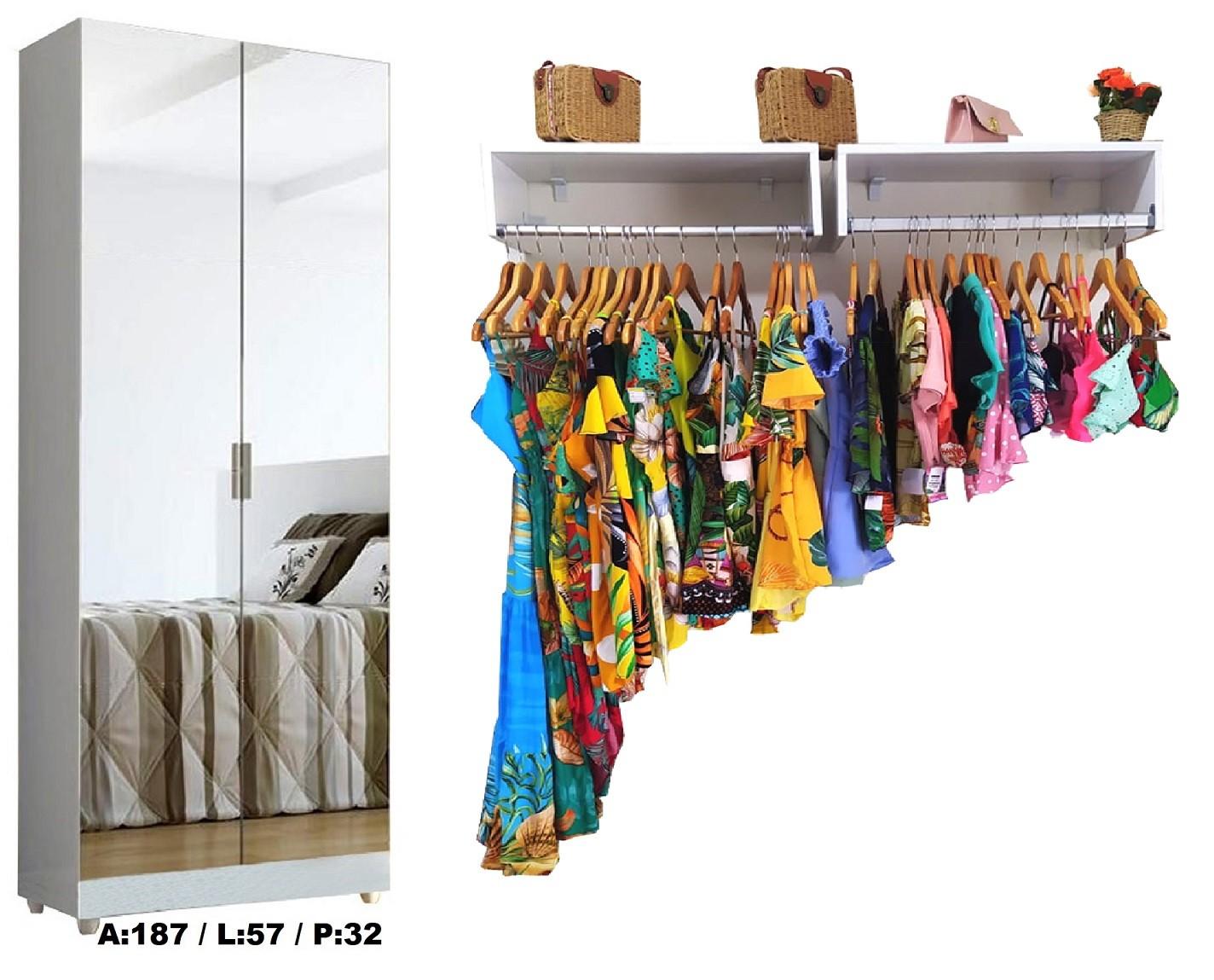 Sapateira com Espelho Linda + 2 Araras de 60cm