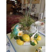 Centro de mesa branco de limões com hibisco e pássaro