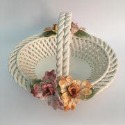Cesta oval com flores grande 34cmx33cmx22cm