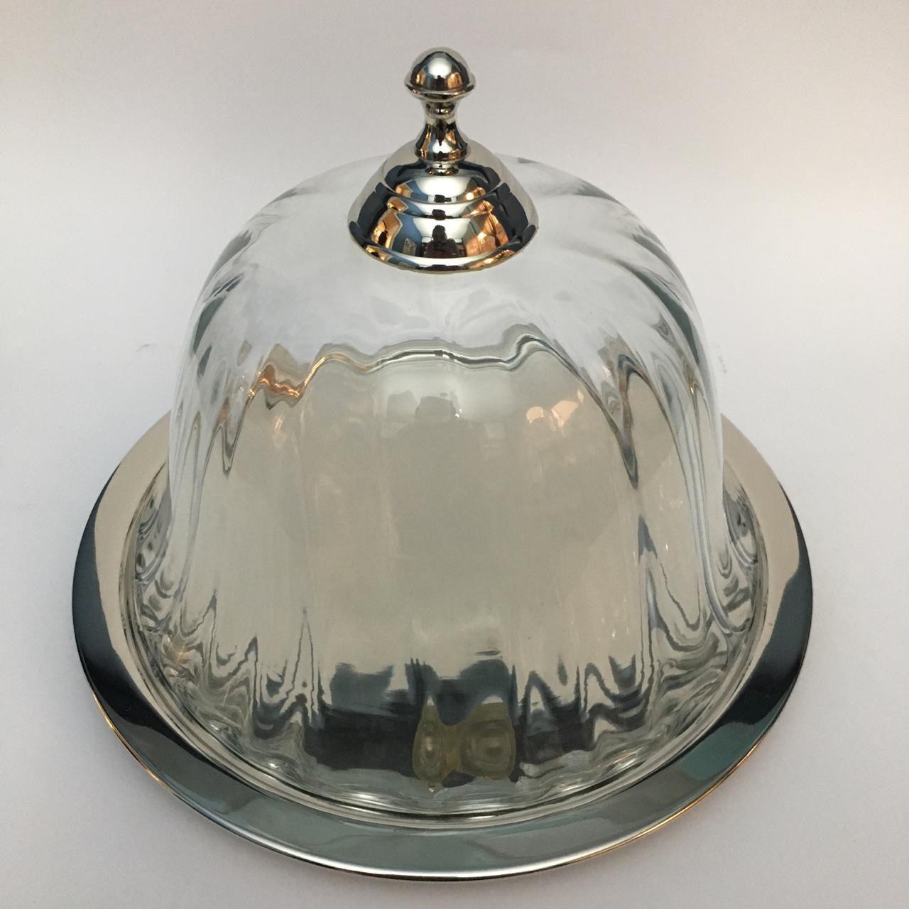 Quejeira c/ prato inox e tampa de vidro 23cm