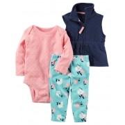 Conjunto Carter's com Colete Calça Floral Azul e Rosa