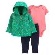 Conjunto Inverno 3 Peças Carter's - Capuz Verde (jaqueta)