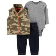 Conjunto Luxo Carter´s Colete Fleece - Camo e Jeans