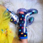 Galocha Transparente + Meias Bolinhas Coloridas