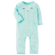 Macacão Fleece Carter´s Urso Azul Acua Poá Orelhinha
