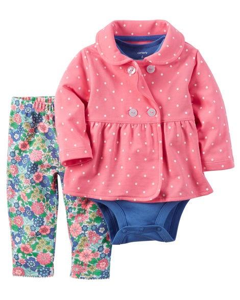 Conjunto Inverno Carters 3 Peças Calça Jaqueta Menina Pink Chic